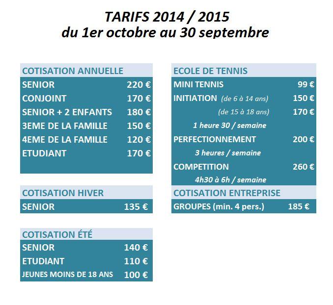 TARIFS 2014 - 2015