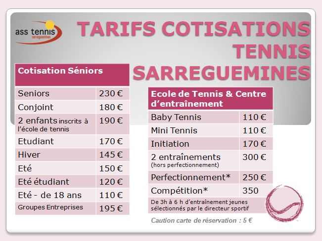 tarifs cotisations